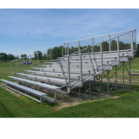 10 Row Non-Elevated Bleacher with Chainlink Guardrails and Aluminum Frame-