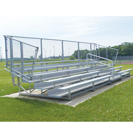 5 Row Non-Elevated Deluxe Bleachers with Chainlink Guardrail and Aluminum Frame-