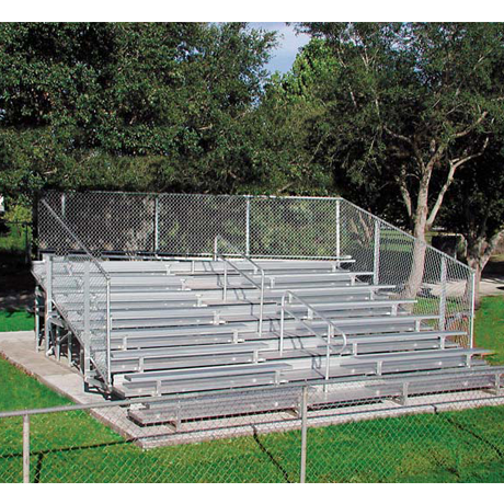 8 Row Non-Elevated Deluxe Bleacher with Chainlink Guardrail and Aluminum Frame-