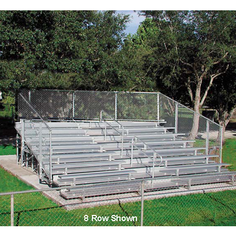 10 Row Non-Elevated Deluxe Bleacher with ChainLink Guardrail and Aluminum Frame-