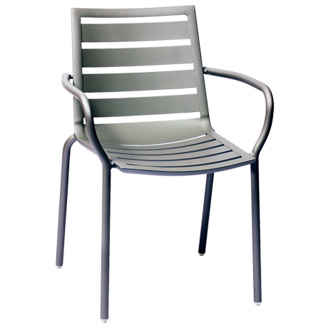 South Beach Aluminum Arm Chair Titanium Silver