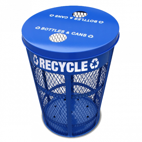 Expanded Metal Outdoor Recycling Receptacle