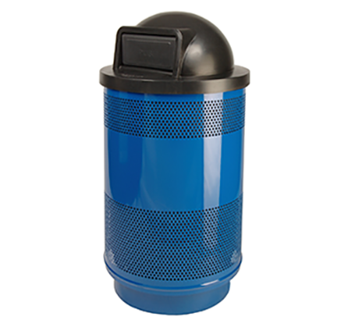 Stadium Series Receptacle, Standard Unit, Plastic Liner, 55 Gallon Capacity, Dome Top Lid, 91 Lbs.