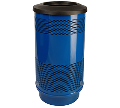 Stadium Series Trash Receptacle - Powder Coated, 35 Gallon Plastic Liner Included, Flat Top Lid, 45 lbs.