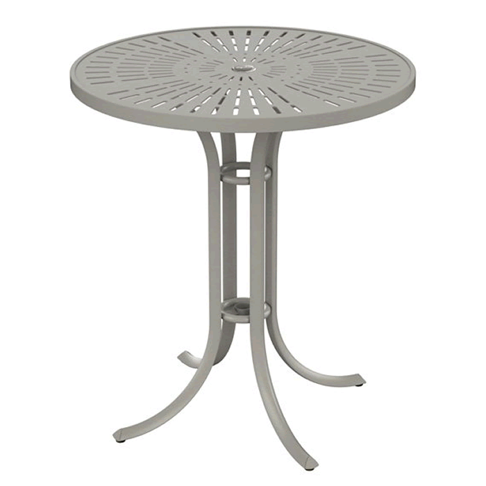 "La'Stratta Patterned Aluminum 36"" Round Umbrella Bar Table"