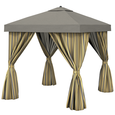 Basta Sole 8' X 8' Square Cabana with Vent and Fabric Curtains