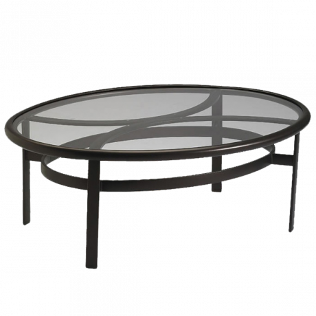 Tropitone 49 In. x 37 In. Elliptical Coffee Table with Acrylic Top-Counter/Balcony Tables