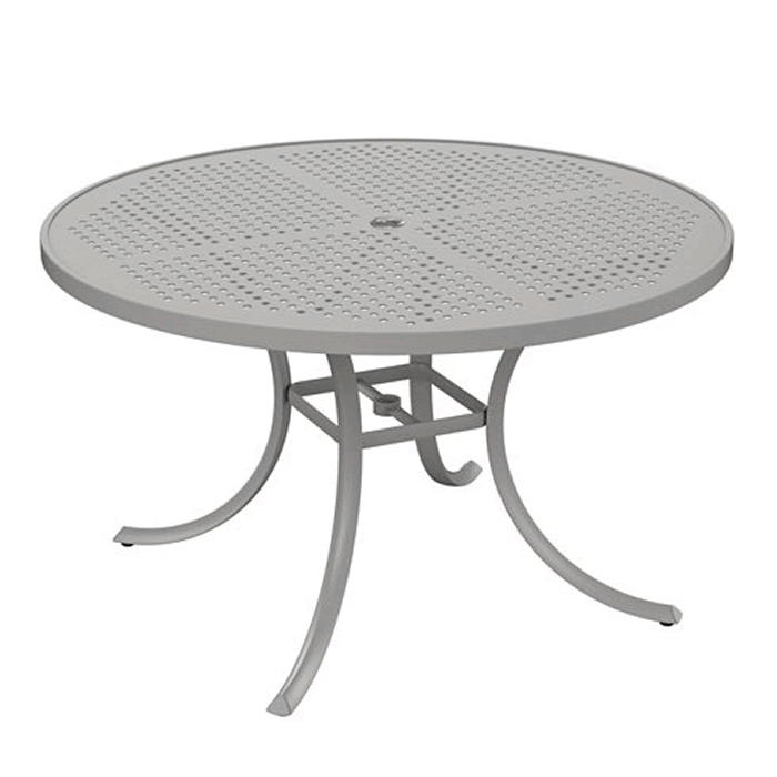 "Boulevard Patterned Aluminum 48"" Round Dining Umbrella Table"