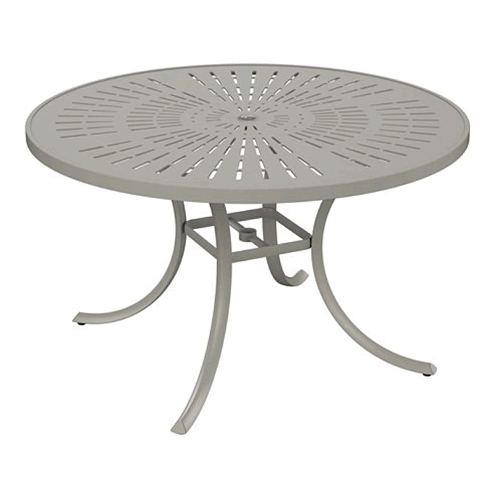 "La'Stratta Patterned Aluminum 48"" Round Dining Umbrella Table"