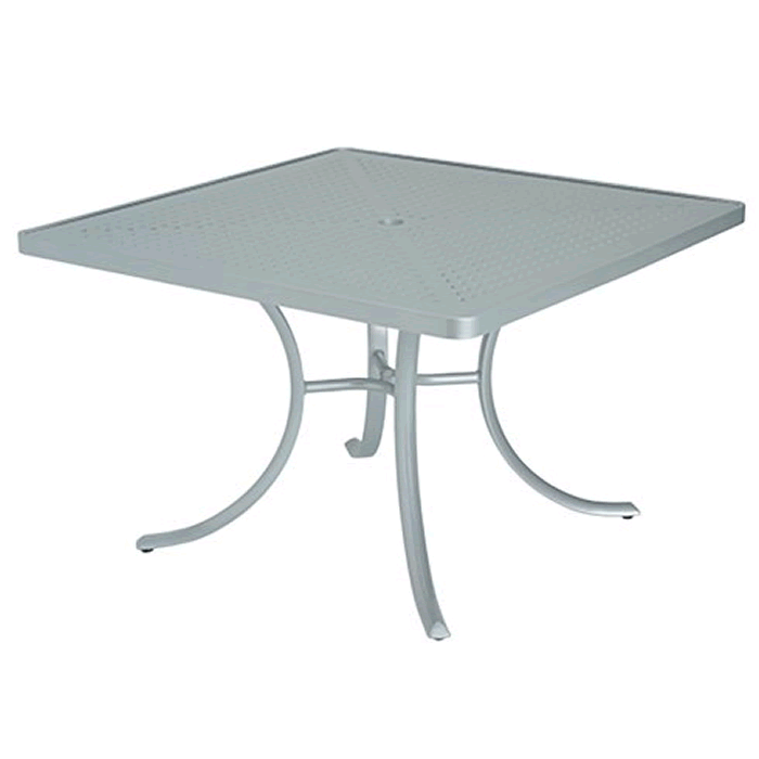 "Boulevard Patterned Aluminum 42"" Square Dining Umbrella Table"