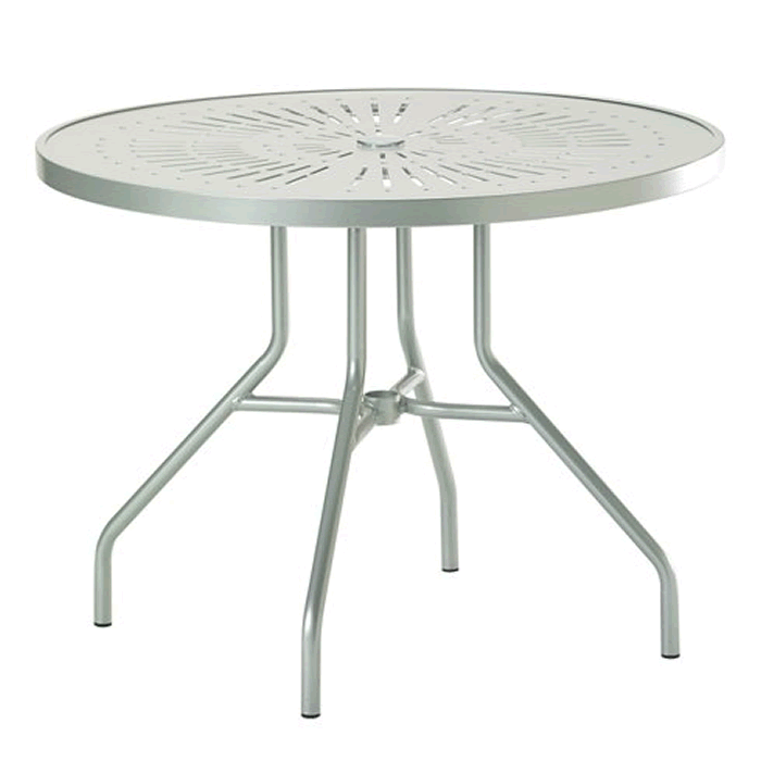 "La'Stratta Patterned Aluminum 36"" Round Dining Umbrella Table"