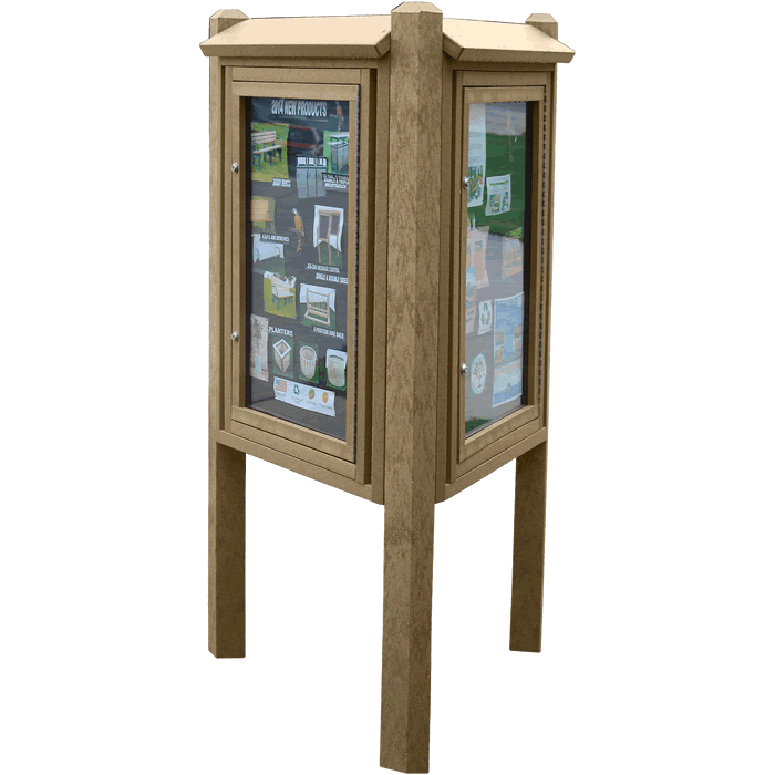 Kiosk Message Center with 3 Sides and 3 Posts
